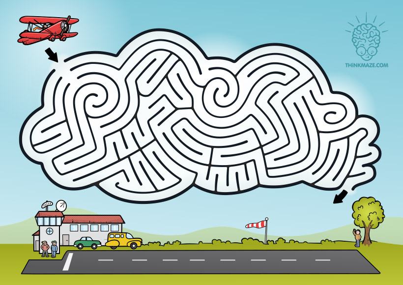Cloud Aeroplane maze in color