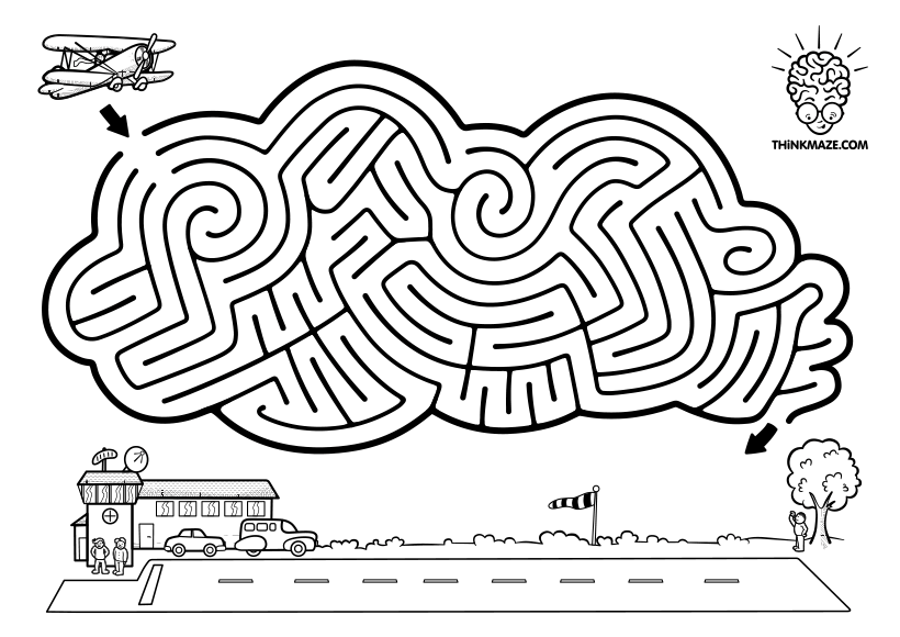 Cloud Aeroplane maze to print out